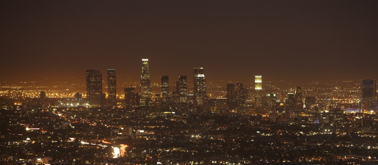 Keuken foto achterwand Los Angeles Sunset of Downtown Los Angeles skyline