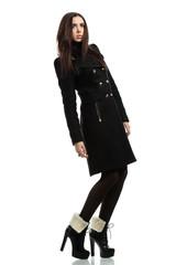 beautiful fashionable woman in coat