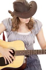 gray dress woman guitar look down