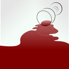 Spilled wine concept. Layered vector illustration