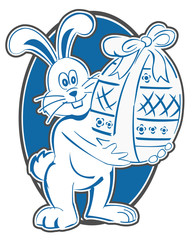 Rabbit Easter Circle Mascot