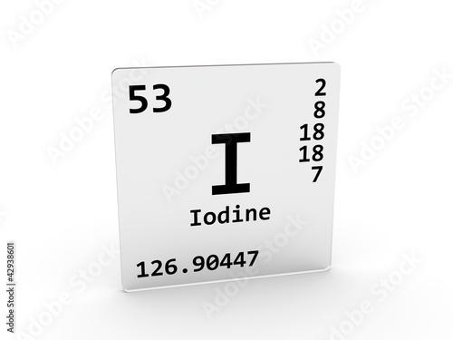 Iodine Symbol I Element Of The Periodic Table Stock Photo And