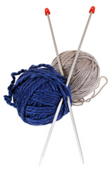 Aiguilles à tricoter et pelotes de laine