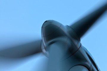 Closeup view of a wind turbine