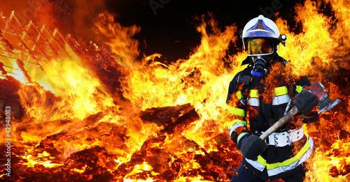 Fototapete Feuerwehrmann Firefighter Held