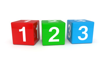 Colorful cubes with 123 numbers Wall mural