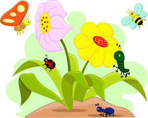 Insects family and flowers