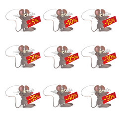 Set of little funny Mouses with discount boards