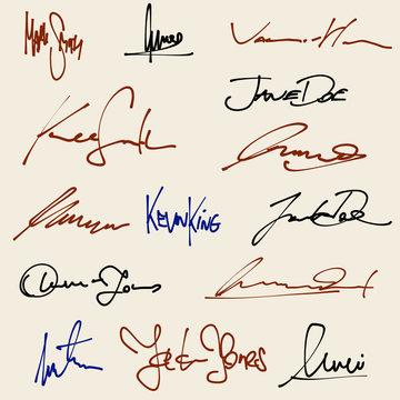 Signatures set - ficticious contract signatures