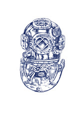 old diving helmet, hand drawing converted to vector