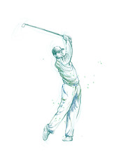 golfer to swing the ball, hand drawing converted to vector