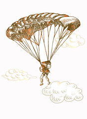 parachutist jumped from a plane, hand drawing