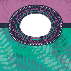 circle label over floral background,  vector