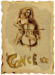 girl playing cello (vintage placard)