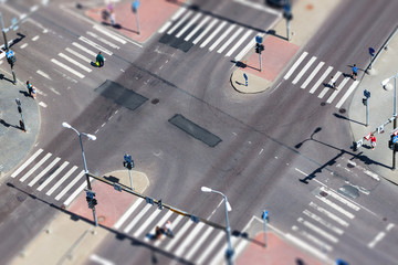 City street traffic and pedestrian crossing