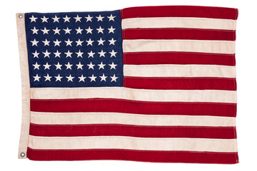 Vintage American 48 State Flag Isolated on White