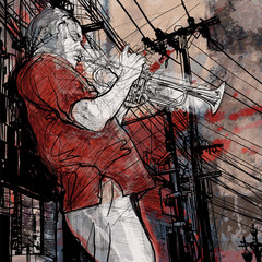 Foto op Canvas Muziekband trumpeter on a grunge cityscape background