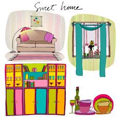set of illustrated interior elements
