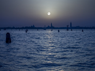 Pale Moon over Venice Italy