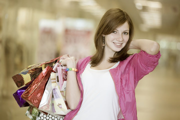 The girl with several packages