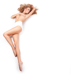 Young sexy woman on white background