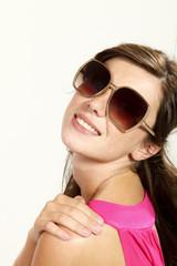 beautiful girl with sunglasses, portrait in studio