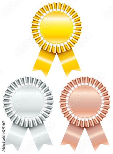 3 Award Badges Gold Silver Bronze Stock Image And Royalty Free
