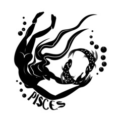 Pisces/Elegant zodiac signs silhouettes isolated on white