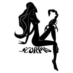 Scorpio/Elegant zodiac signs silhouettes isolated on white
