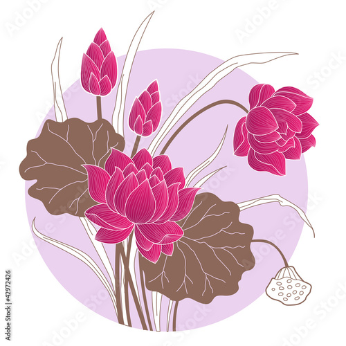 Decorative Chinese Lotus Flower With Circled Background Of Water