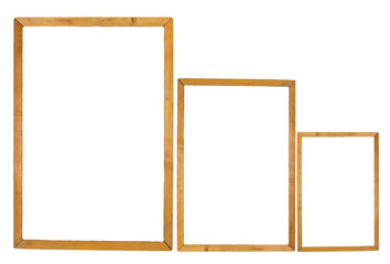 three wooden frame on white background