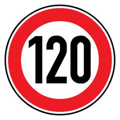Papier Peint - Verkehrsschild - 274 Höchstgeschwindigkeit (120)