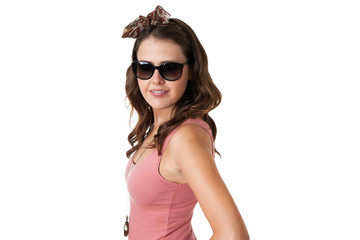 attractive young female wearing sunglasses