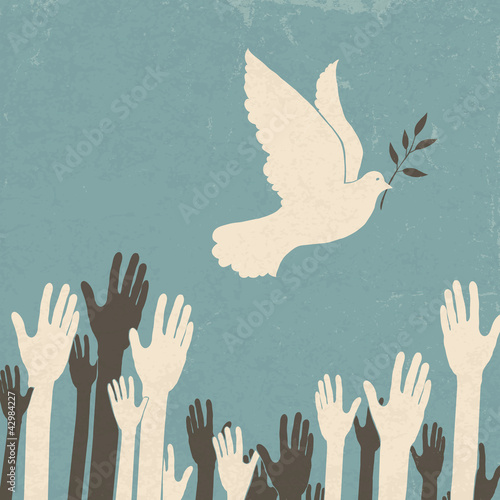 Fototapete Group of hands and dove of peace. Retro illustration, EPS10