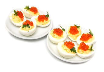 eggs with red caviar
