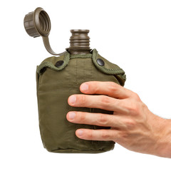 Man holding army water cantee