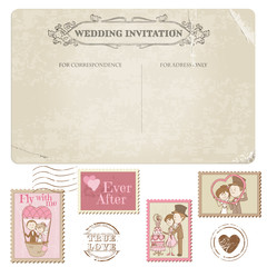 Wedding Postcard and Postage Stamps - for wedding design, invita