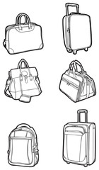 set travel bags and suitcases