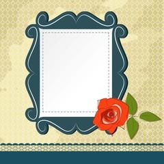 Vintage card design with rose