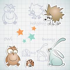 Set of three funny animals: hedgehog, owl and rabbit