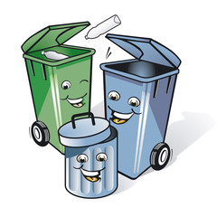 drei Mülleimer