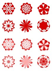 A set of round red and white designs in retro style, suitable for websites, presentations and various decorations.
