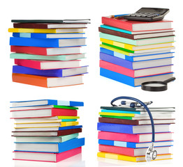 pile of books collage isolated on white