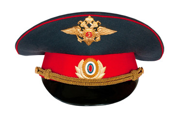 peak-cap of the Russian policeman on a white background.