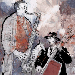 Spoed Fotobehang Muziekband Jazz band on a colorful background