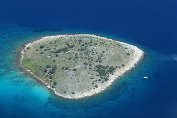 Aerial view of a cornati island with yacht in Croatia