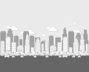 Black and white cartoon city landscape