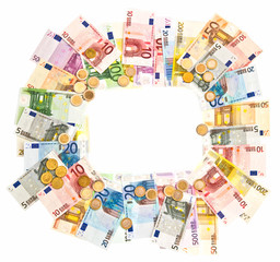 euro currency frame with clipping path