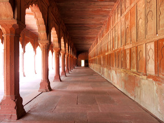 A passage in the Taj Mahal complex in Agra, India