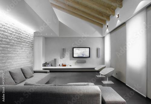 Salotto Moderno Grigio : Salotto moderno blu e grigio u foto stock archideaphoto